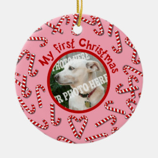 My First Christmas Candy Canes Pink Pet Photo Double-Sided Ceramic Round Christmas Ornament