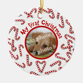 My First Christmas Candy Canes White Pet Photo Ceramic Ornament