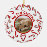 My First Christmas Candy Canes White Pet Photo Christmas Ornaments
