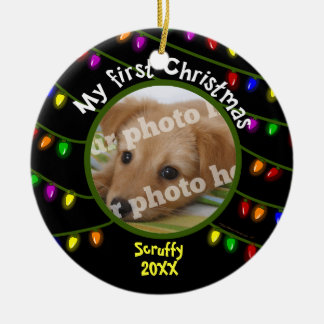 My First Christmas Custom Pet Photo Fun Lights Ceramic Ornament