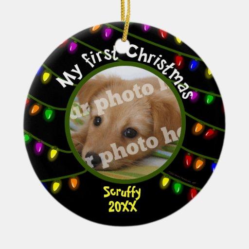 My First Christmas Custom Pet Photo Fun Lights Ornaments