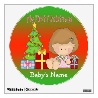 My First Christmas Girl Round Wall Decal