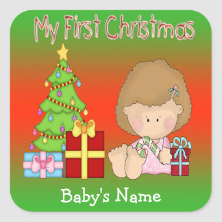 My First Christmas Girl Square Stickers