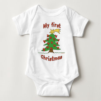 My First Christmas (Happy Tree design) Baby Bodysuit