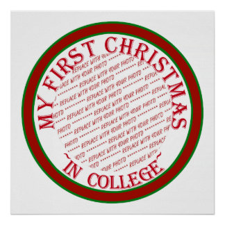 My First Christmas In College Photo Frame Template Posters
