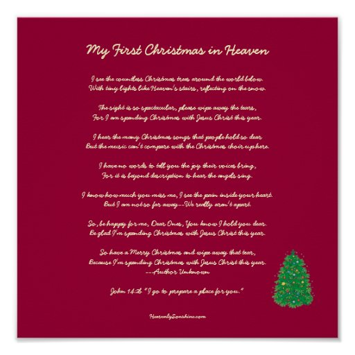 Canny image within my first christmas in heaven poem printable