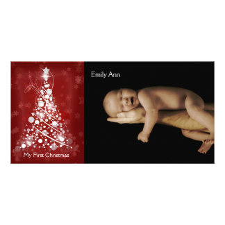 My First Christmas Modern Circle Christmas Tree Personalized Photo Card