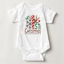 My First Christmas Outfit with Reindeer Baby Bodysuit