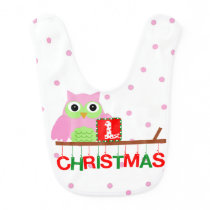 My First Christmas Pink Owl Bib