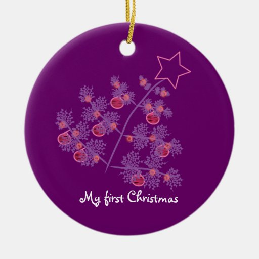 My first Christmas: Purple Tree Ceramic Ornament