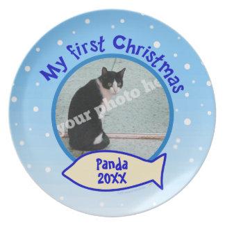 My First Christmas Snow Custom Photo Pet Cat Plate