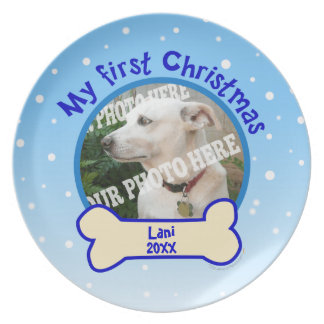 My First Christmas Snow Custom Photo Pet Dog Plate