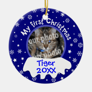 My First Christmas Snowflakes Add Your Pets Photo Double-Sided Ceramic Round Christmas Ornament