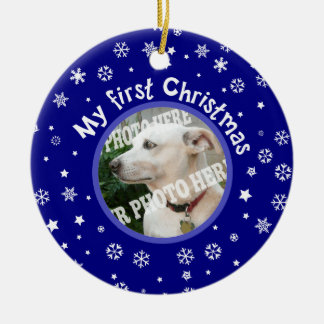 My First Christmas Snowflakes Custom Pet Photo Double-Sided Ceramic Round Christmas Ornament