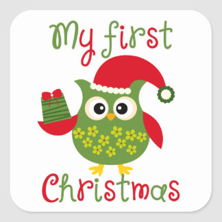 My First Christmas Square Sticker