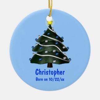 """My First Christmas"" (Tree w/ Blue & Silver Orname Ceramic Ornament"