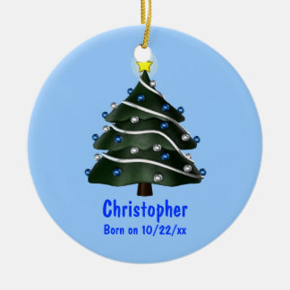 """My First Christmas"" (Tree w/ Blue & Silver Orname Christmas Tree Ornaments"