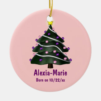 """My First Christmas"" (Tree w/ Pink & Purple Orname Ceramic Ornament"