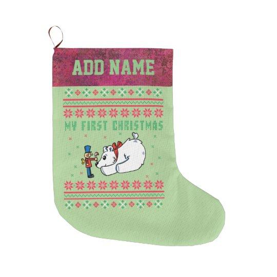my first christmas ugly xmas sweater polar bear large christmas stocking - Large Christmas Stocking