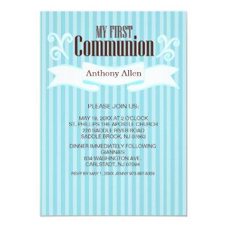My First Communion Boys Blue Striped Invitation