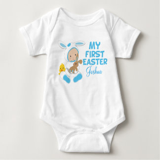 My First Easter Baby Boy Blue Baby Bodysuit