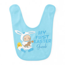 My First Easter Baby Boy Blue Bib