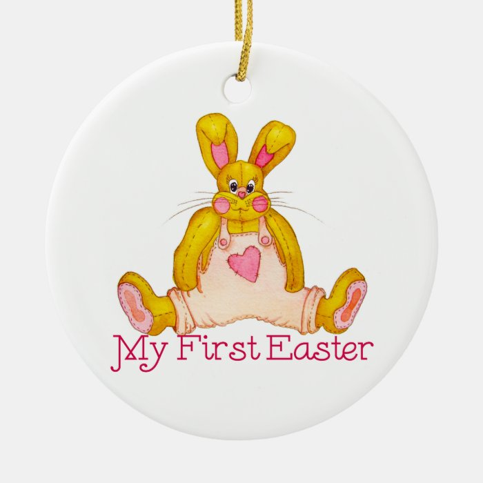 My First Easter Country Bunny Ceramic Ornament