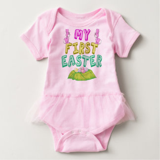 My First Easter Cute Girl Baby Bodysuit