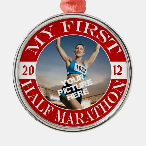 My First Half Marathon - Customizable Photo & Year Round Metal Christmas Ornament