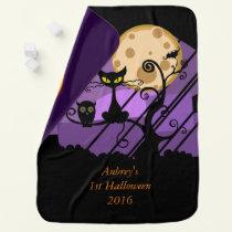 My first Halloween 2016 owl bat cat kitty pumpkin Baby Blanket