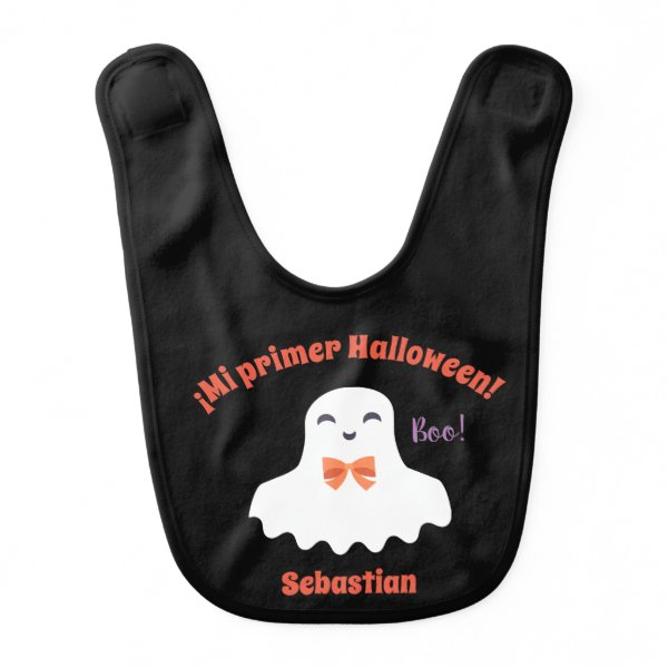 """""""My First Halloween"""" Baby Bib with Cute Ghost"""