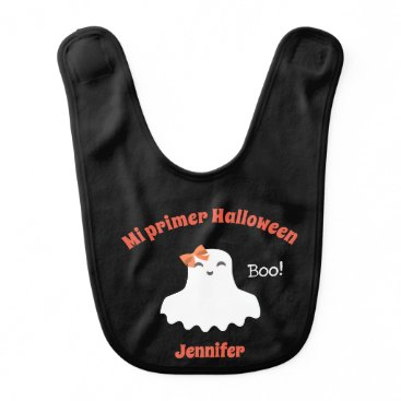 """My First Halloween"" Baby Bib with Cute Ghost"