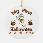 My First Halloween Double-Sided Ceramic Round Christmas Ornament