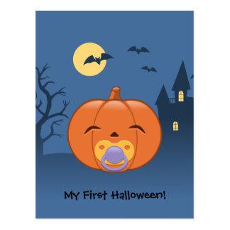 My First Halloween Pacifier Pumpkin Postcard