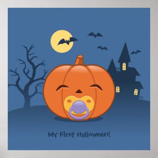 My First Halloween Pacifier Pumpkin Poster