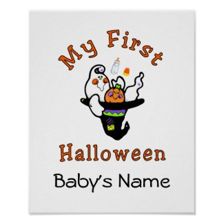 My First Halloween Poster Personalize With Babys Name