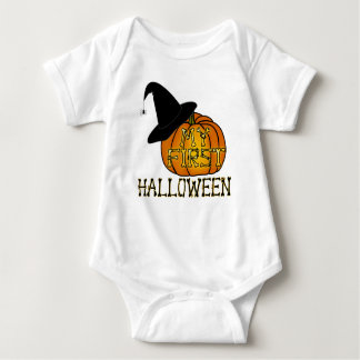 """""""My First Halloween"""" Witch's Hat & Pumpkin Baby Bodysuit"""