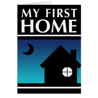 my first home (mod sunset) stationery note card