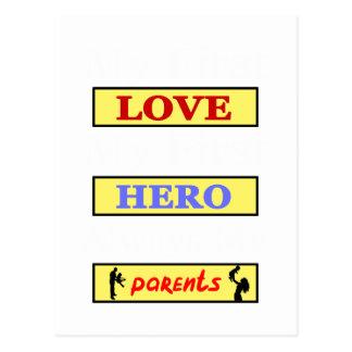 My First Love My First Hero Always My Parents Postcard