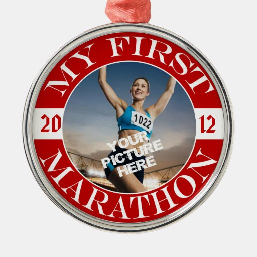My First Marathon - Customizable Photo and Year Round Metal Christmas Ornament