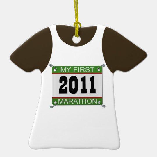 My First Marathon Singlet - 2011 Ceramic Ornament