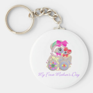 My First Mother's Day (bear) Basic Round Button Keychain
