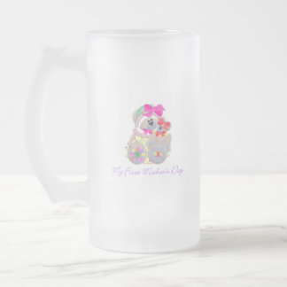 My First Mother's Day (bear) Frosted Glass Beer Mug