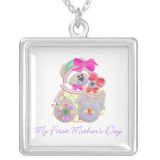 My First Mother's Day (bear) Square Pendant Necklace