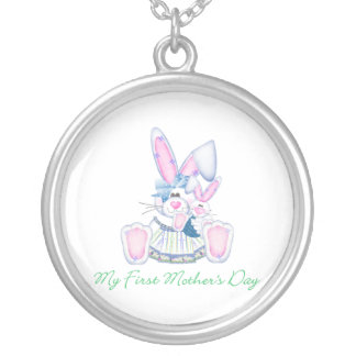 My First Mother's Day (bunny) Round Pendant Necklace