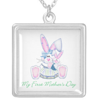 My First Mother's Day (bunny) Square Pendant Necklace