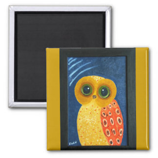 My First Owl Painting 2 Inch Square Magnet