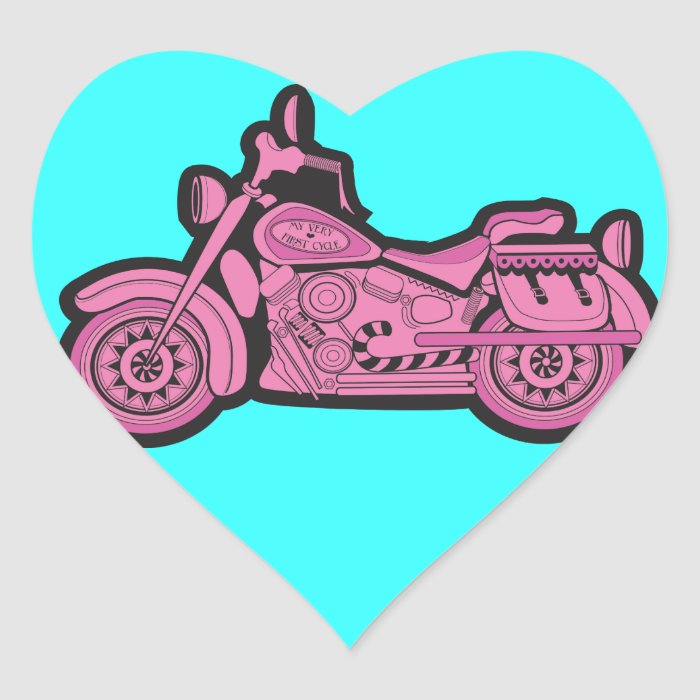 My First Pink Motorcycle Heart Sticker