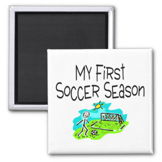 My First Soccer Season Stick Figures 2 Inch Square Magnet