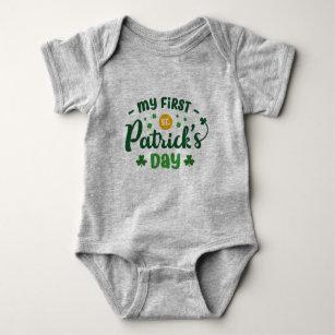 It/'s My First Saint Patrick/'s Day Shamrock Custom Baby Bodysuit One Piece